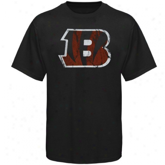 Bengals T Shirt : Bengals Black Vintage Logo Slim Fit T Shirt