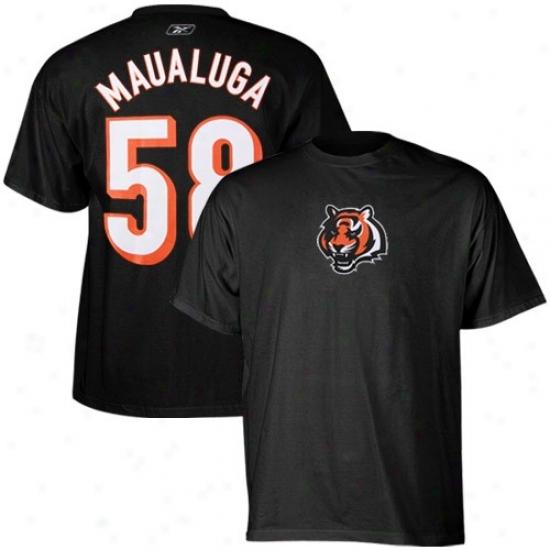 Bengals T Shirt : Reebok Bengals #58 Rey Maualuga Black Scrimmage Gear T Shirt