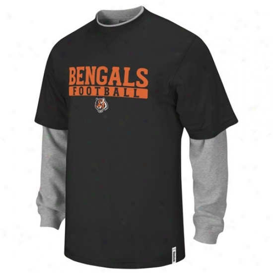 Bengals Tshirt : Reebok Bengals Black-gray Splitter Double Layer Tshirt