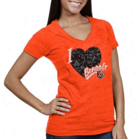 Bengals Tshirts : Reebok Bengals Ladies Orane I Attachment This Team V-neck Tri-nlend Tshirts