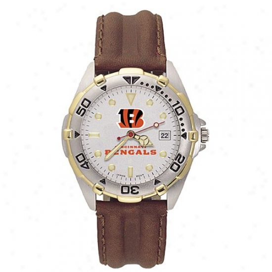 Bengals Watch : Bengals Men's All-starr Watch With Brown Leather Band