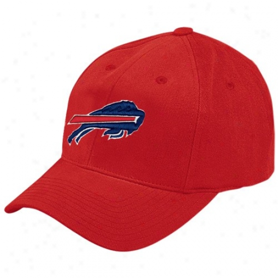 Bills Hat : Reebok Bills Red Brushed Basic Logo Adjustable Hat