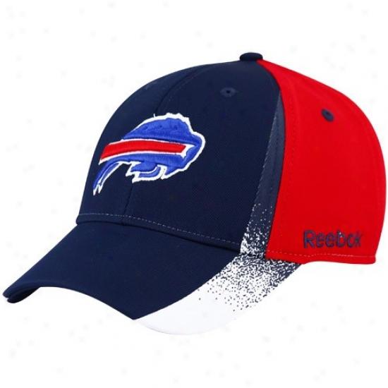 Bills Merchandise: Reebok Bills Black-red Spray Paint Structured Flex Fit