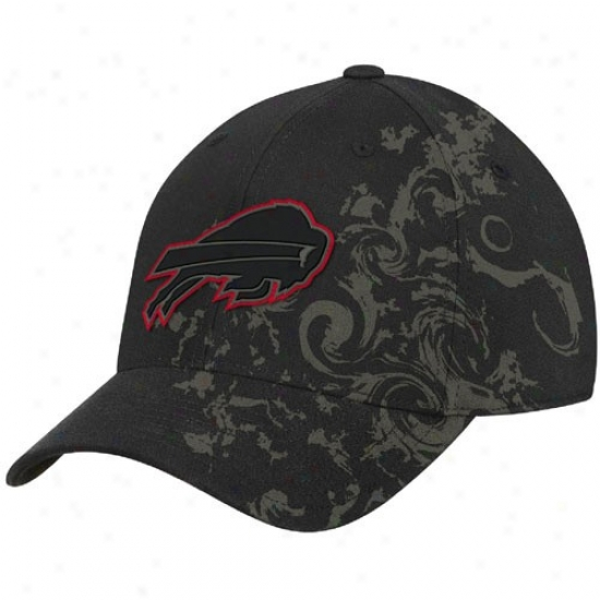 Bills Merchandise: Reebok Bills Black Tattoo Swirl Structured Flex Fit Hat