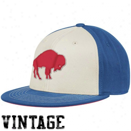 Bills Merchandise: Reebok Bills Whiteroyal Bule Throwback 210 Fitted Hat