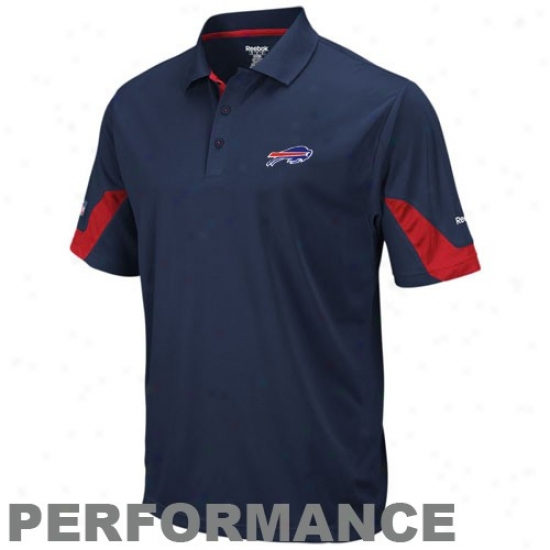 Bills Polos : Reebok Billz Navy Blue-red Sideline Team Performance Polos