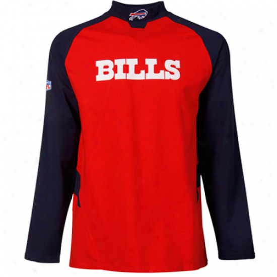 Bills Shirts : Reebok Bills Red Sideline Mock Neck Shirts