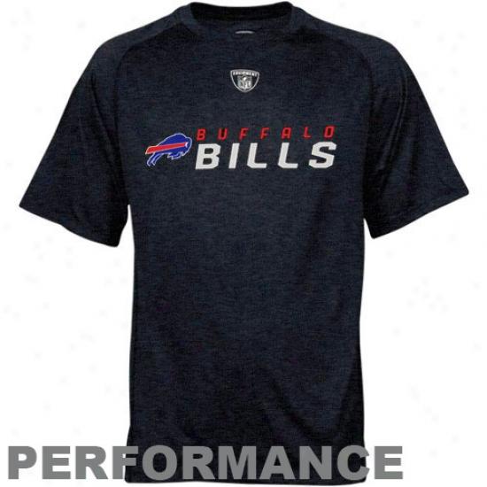 Bills Tshirts : Reeobk Nfl Equipment Bills Navy Blue Sideline Speedwick Performance Heathered Tshirts