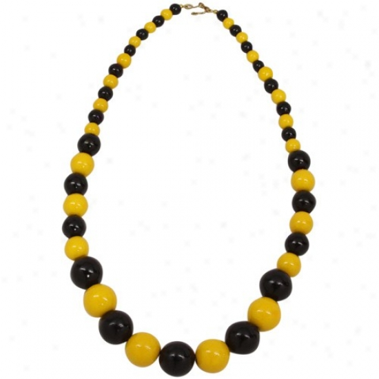 Black-gold Ascending Wooden Bead Necklace