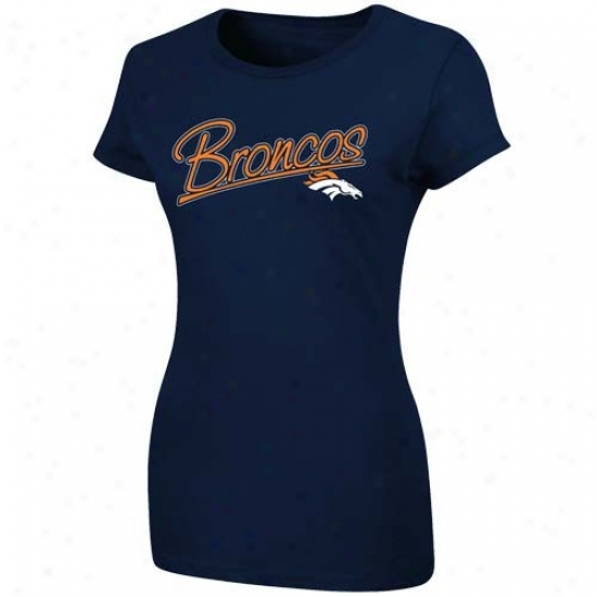Broncos Apparel: Broncos Ladies Navy Blue Franchuse Fit T-shirt