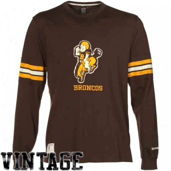 Broncos Apparel: Reebok Broncos Brown Distressed Throwback Applique Premium Long Sleeve T-shirt