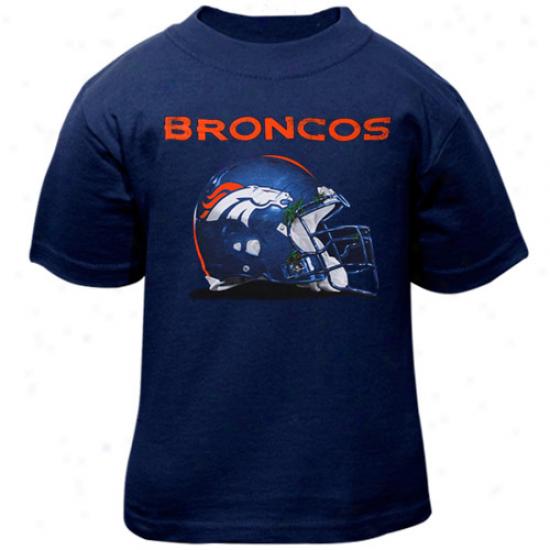 Broncos Apparel: Reebok Broncos Toddler Navy Blue Benchmark Helmet T-shirt