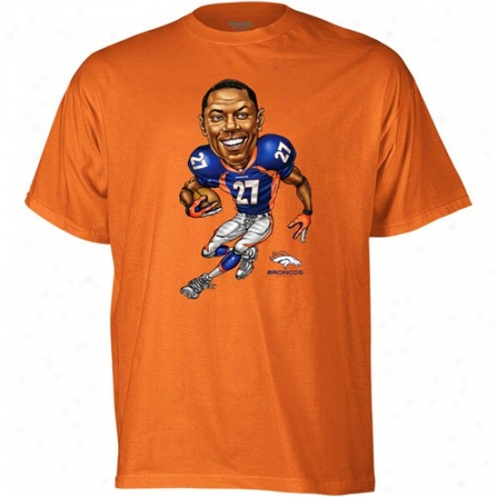 Broncos Attire: Reebok Broncos #27 Knowshon Moreno Orange Caricature T-shirt