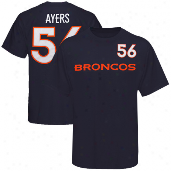 Broncos Attire: Reebok Broncos #56 Robert Ayers Youth Navy Blue Game Gear T-shirt