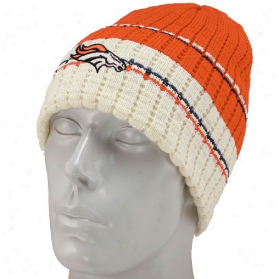 Broncos Cap : Reebok Broncos Orange Tesm Strip3 Knit Beanie