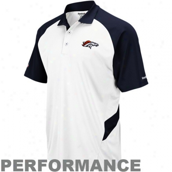 Broncos Golf Shirts : Reebok Broncos White-navy Blue Sideline Statement Perfomance Golf Shirts