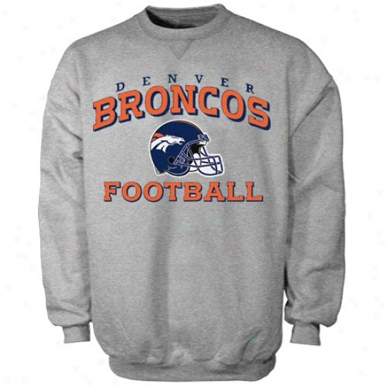 Broncos Hoodie : Reebok Broncoss Ash Stacked Helmet Hoodie