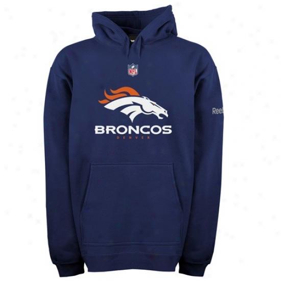 Broncos Hoody : Reebok Broncos Navy Blue Authentic Hoody