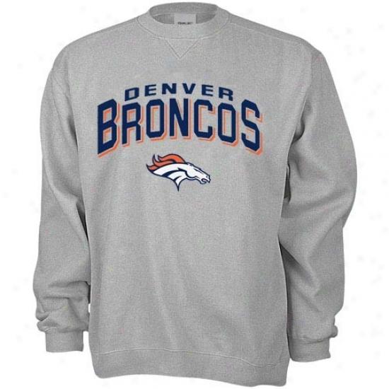 Broncos Hoodys : Reebok Broncos Ash Goal Line Crew Hoodys