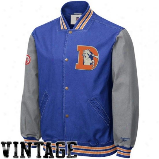 Broncos Jackets : Reebok Broncos Royal Blue Throwback Varsity Canvas Jackets
