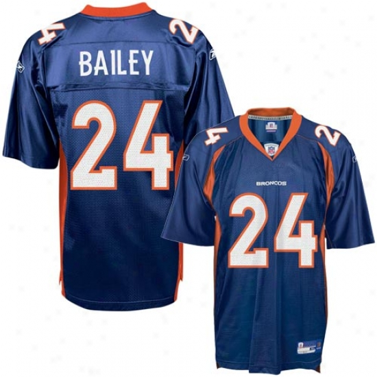 Broncos Jersey : Reebok Nfl Equipment Broncos #24 Champ Bailey Navy Replica Football Jersey