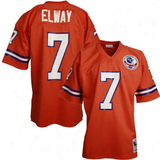 Broncos Jedseys : Mitchwll & Ness Broncos #7 John Elway Orange 1984 Silvery Anniversary Authehtic Throwback Jerseys