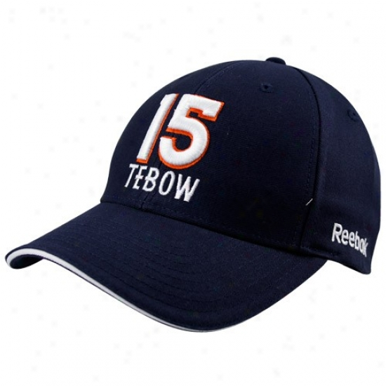 Broncos Merchandise: Reeebok Broncos #15 Tim Tebow Navy Blue Adjustable Hat