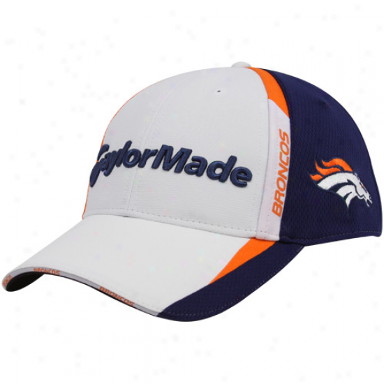 Broncos Merchandise: Taylormade Broncos White-navy Blue 2010 Nfl Golf Adjustable Hat
