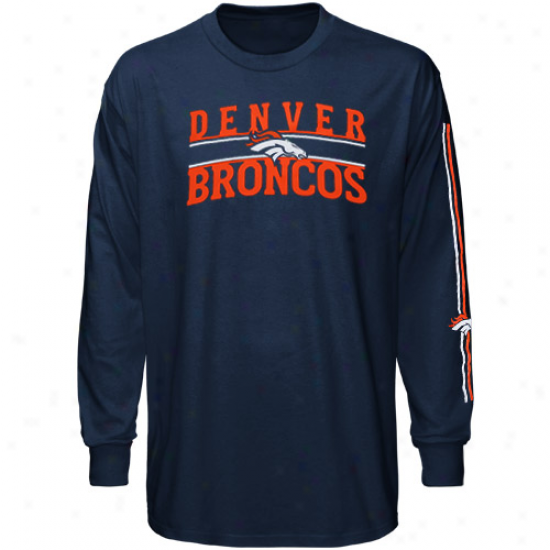 Broncos Shirt : Reebok BroncosY outh Navy Blue Power Drive Long Sleeve Shirt