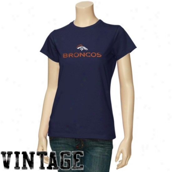 Broncos T Shirt : Broncos Ladies Navy Blue Gutsy Play Vintage T Shirt
