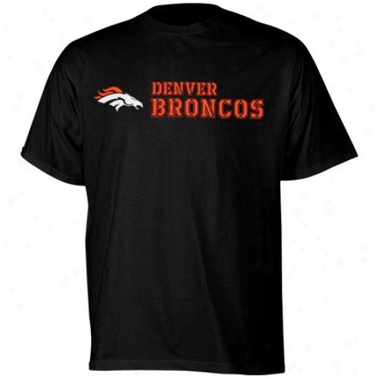 Broncos T-shirt : Reebok Broncos Black Stealth Stencil T-shirt