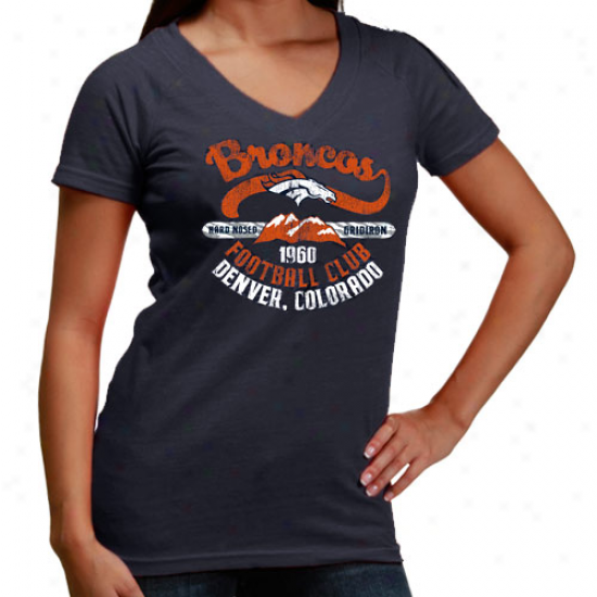 Broncos T-shirt : Reebok Broncos Ladies Navy Blue Oil Can Flirt Premium Tri-blend T-shirt