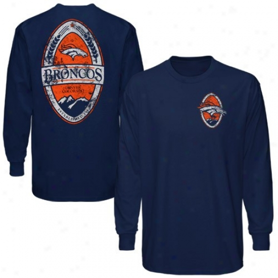 Broncos T Shirt : Reebok Broncos Navy Blue Product Placement Long Sleeve T Shirt