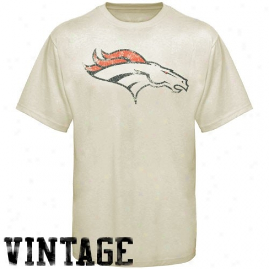 Broncos T-shirt : Reebok Broncos Youth Cream Main Identity Vintage T-shirt