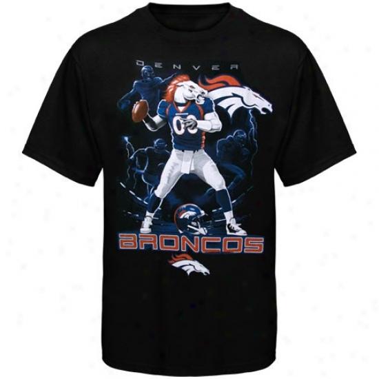 Broncos Tee : Broncos Black The Quarterback Tee
