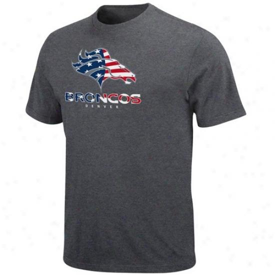 Broncoe Tee : Broncos Charcoal Stars & Stripes Logo Tee