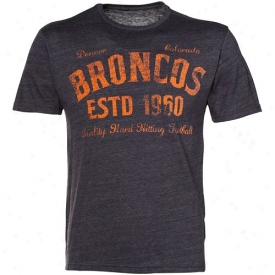 Broncos Tee : Reebok Broncos Navy Blue Dillinger Tri-blend Premium Tee