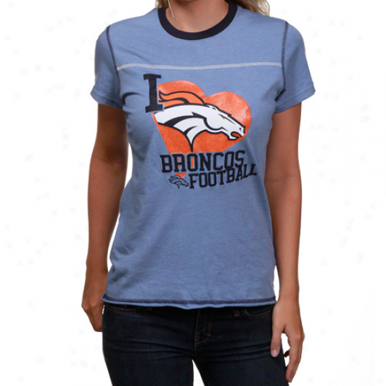 Broncos Tees : Reebok Broncos Ladies Royal Blue Scrapbook Love H3athered Tees