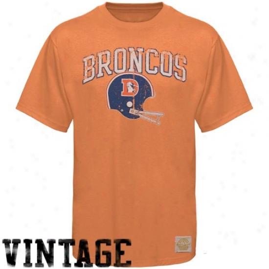 Broncos Tees : Reebok Broncos Orange Buttonhook Vintage Premium Tees
