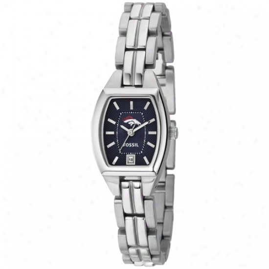 Broncos Watches : F0ssil Broncos Ladies Stainless Steel Analog Cushion Watches