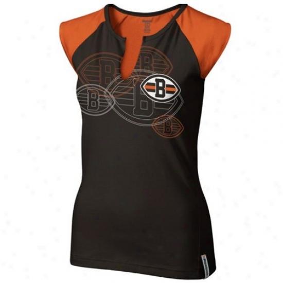 Browns Apparel: Reebok Browns Ladies Brown High Pitch Split Neck Premium T-shirt
