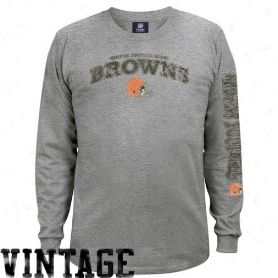 Browns Attire: Browns Ah Gridiron Tough Vintage Long Sleeve T-suirt