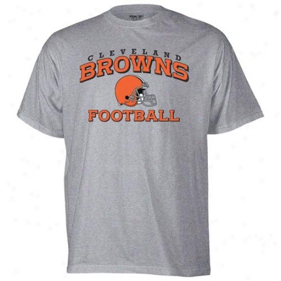 Browns Attire: Reebok Browns Ash Stacked Helmet T-shirt