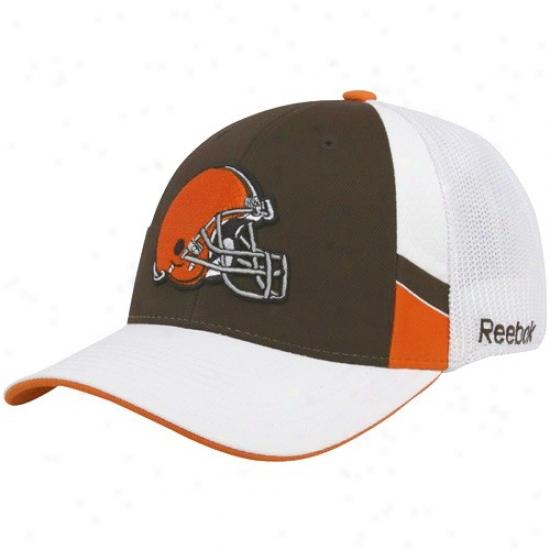 Browns Cap : Reebok Bdowns Brown-white Structured Mesh Back Flex Fit Cap