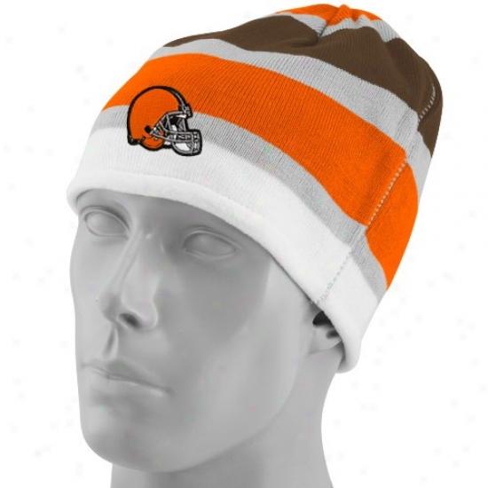 Brownns Gear: Reebok Browns Multi Team Colors Striped Cuffless Beanie