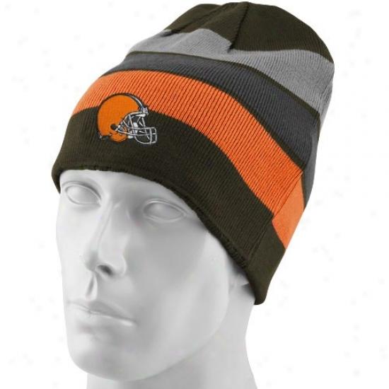 Browns Hat : Reebok Browns Black-striped Cuffless Reversible Beanje