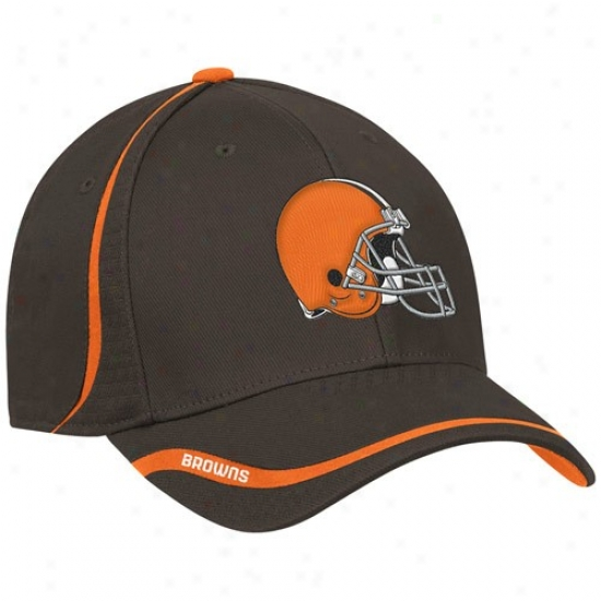 Browns Hat : Reebok Browns Brown 2010 Coaches Flex Fit Hat