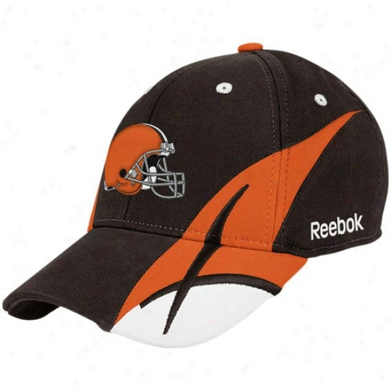Browns Hat : Reebok Browns Brown Pitchfork Flex Fit Hat