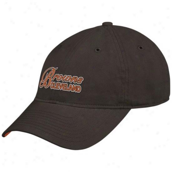 Browns Hat : Reebok Browns Ladies Brown Garment Washed Adjustable Clownish gait Hat