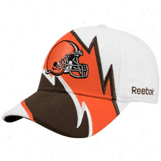 Browns Hat : Reebok Browns Whiite Electric Flex Fit Har